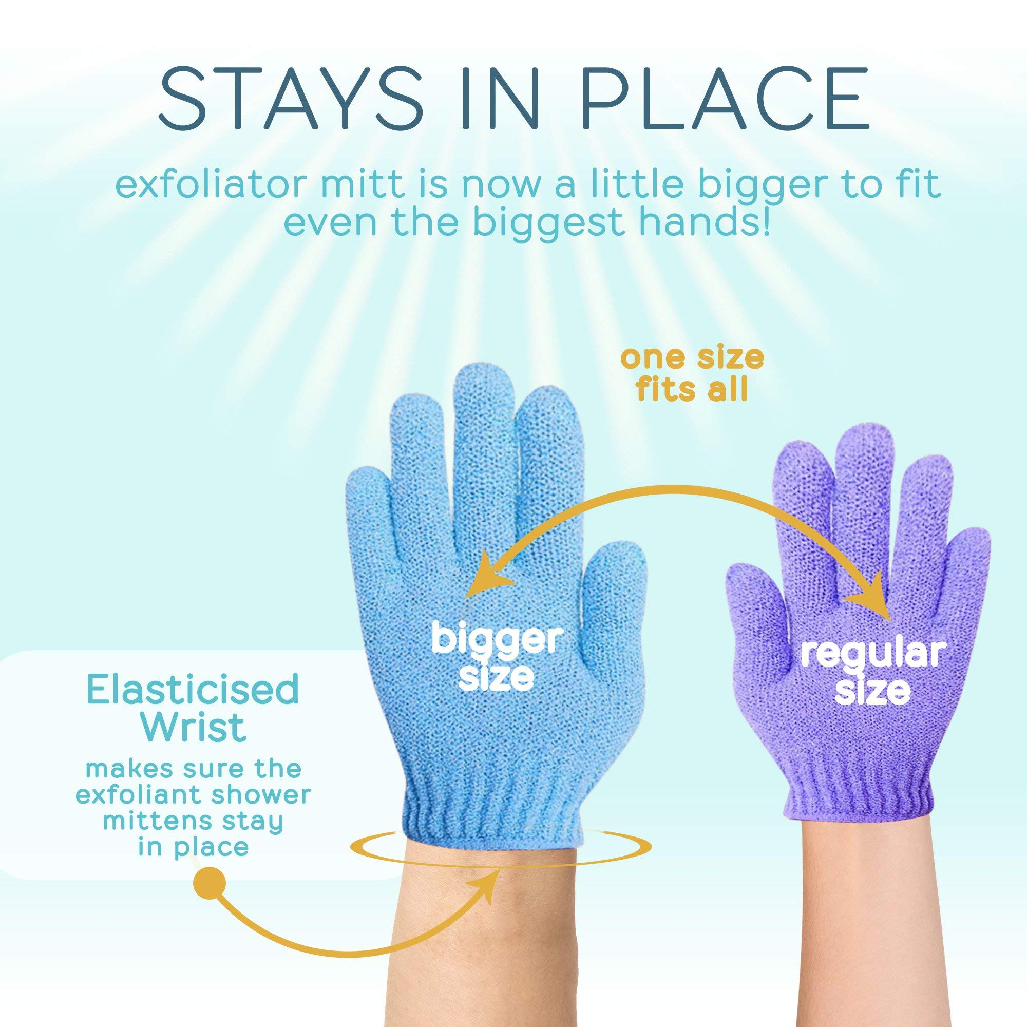 SmitCo LLC Exfoliating Gloves - 4 Pairs Full Body Scrub - Shower or Bath Spa Exfoliation Accessories For Men and Women - Scrubs Away Dead Cells For Soft Skin and Improves Blood Circulation by SMITCO (Image #4)