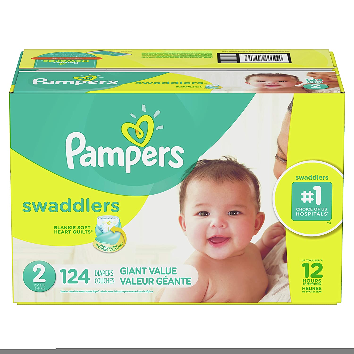 f30d91d4cc67 Amazon.com: Diapers Size 2, 124 Count - Pampers Swaddlers Disposable ...