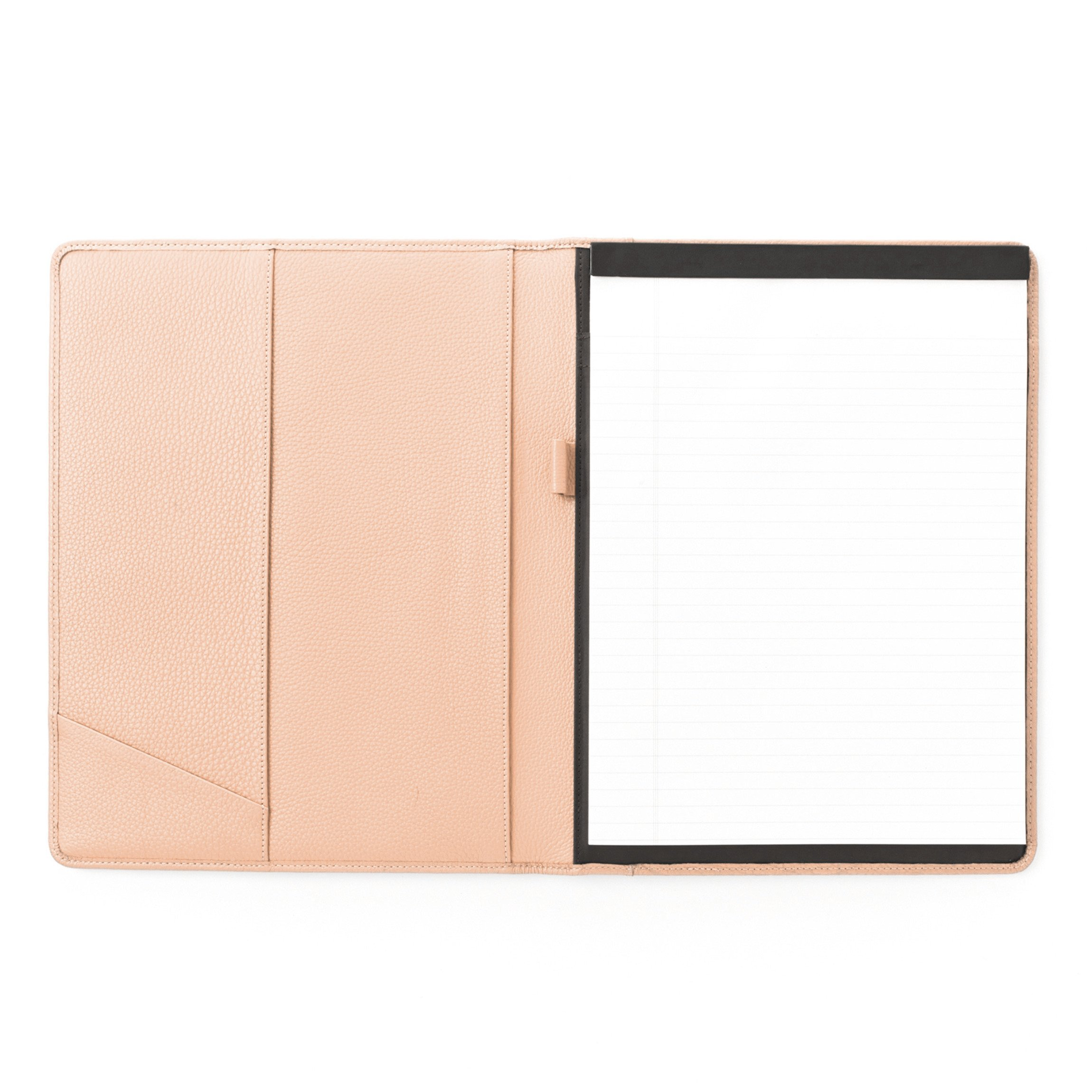 Leatherlogy Standard Padfolio with Pen Loop - Full Grain Leather Leather - Rose (pink)