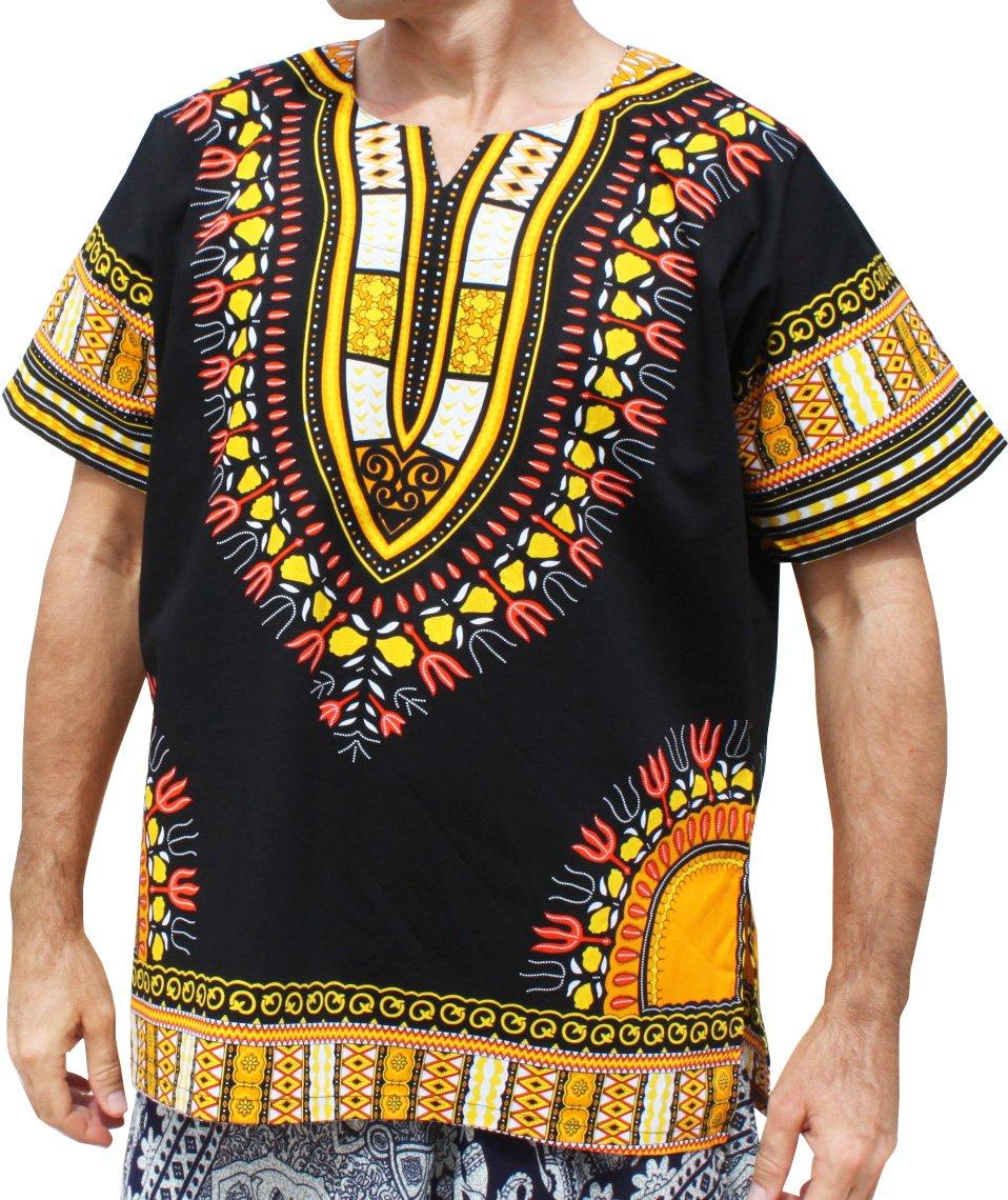 RaanPahMuang Brand Unisex Bright Black Cotton Africa Dashiki Shirt Plain Front, Medium, Black with Yellow