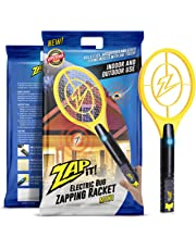 ZAP IT! Mini Bug Zapper - Electric Mosquito, Fly Killer and Bug Zapper Racket - 4000 Volt - Rechargeable Via USB, Super-Bright LED Light to Zap in the Dark - Unique 3-Layer Safety Mesh That's Safe to Touch (Mini)