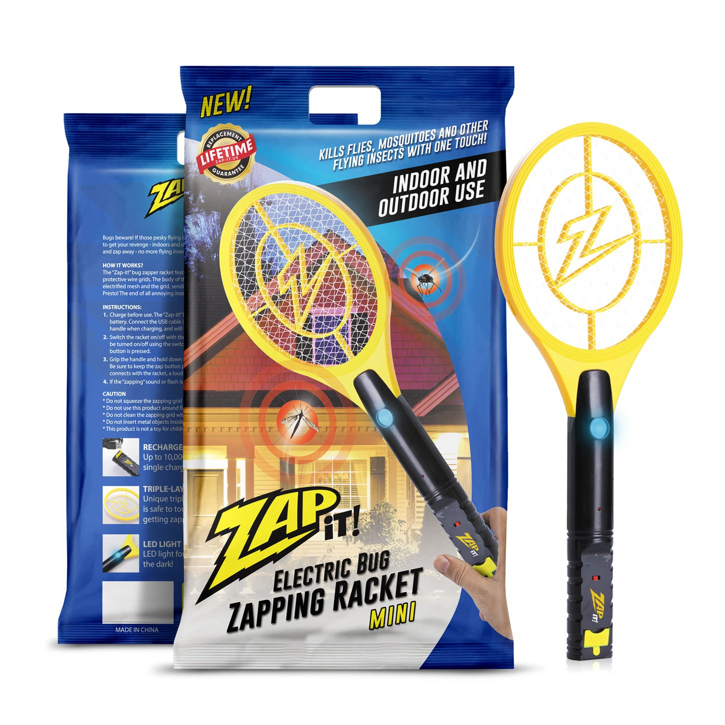 ZAP IT! Mini Bug Zapper - Rechargeable Mosquito, Fly Killer and Bug Zapper Racket - 4,000 Volt - USB Charging, Super-Bright LED Light to Zap in The Dark - Safe to Touch by ZAP IT!