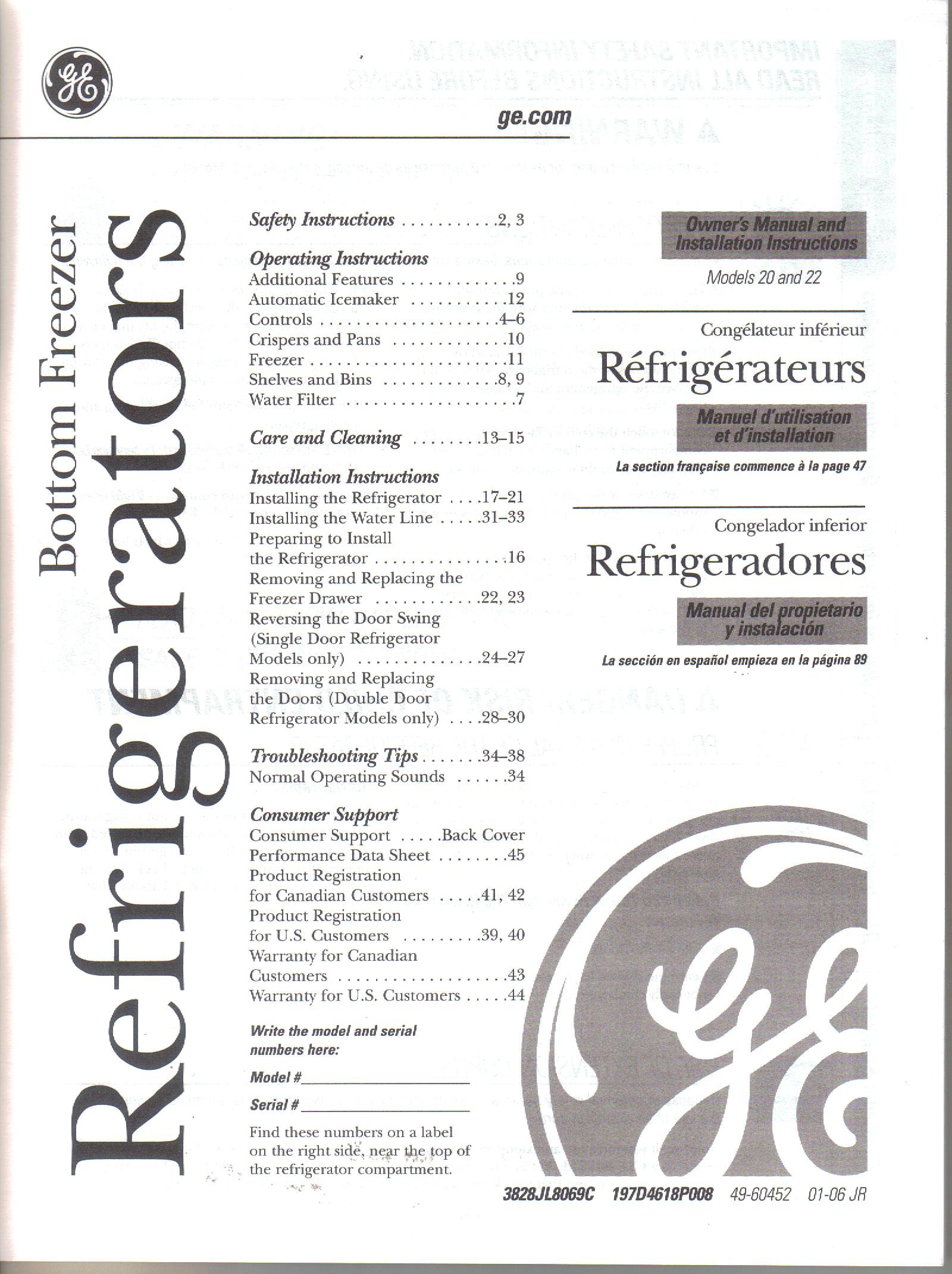 ge general electric bottom freezer refrigerator models 20 and 22 rh amazon com ge refrigerator user manual dfe28jmhces GE Profile Refrigerator Side by Side