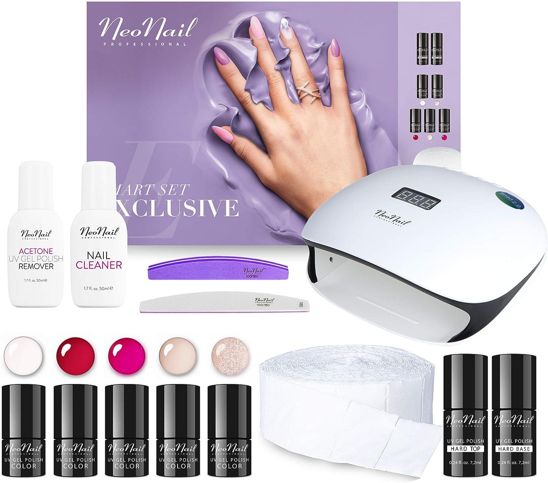 NeoNail Smart Set exclusivo de 5 esmaltes de uñas UV de 3 ml con lámpara LED de 36 W/48 W + accesorios NeoNail Set de estudio de uñas caja de regalo