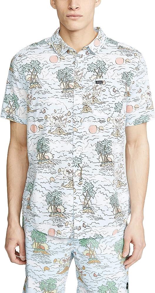 RVCA Hombre M506TRTC Manga Corta Camisa de Botones - Multi - Medium: Amazon.es: Ropa y accesorios