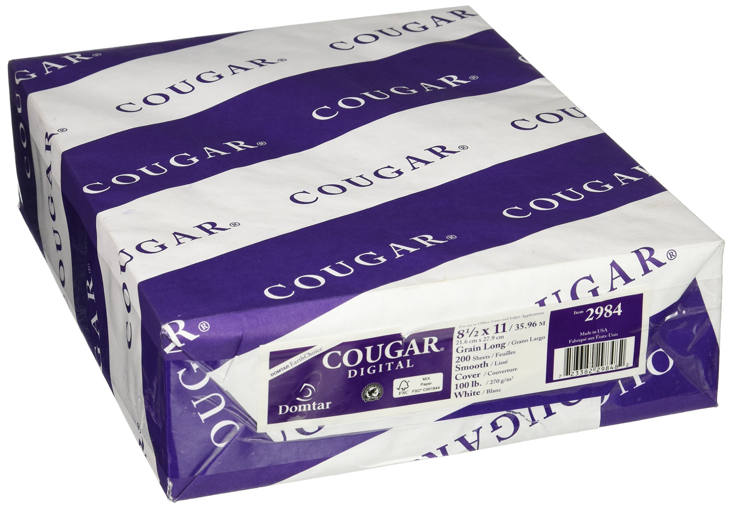 Cougar/Domtar Opaque White Smooth 100# Cover 8.5''x11'' (200 Sheet Per Pack) by Cougar