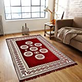 Home Streak Traditional Kashmiri, Anti Static, Water Repellent Multi-Purpose Cotton Carpet (Maroon and Golden, 5x7 ft)