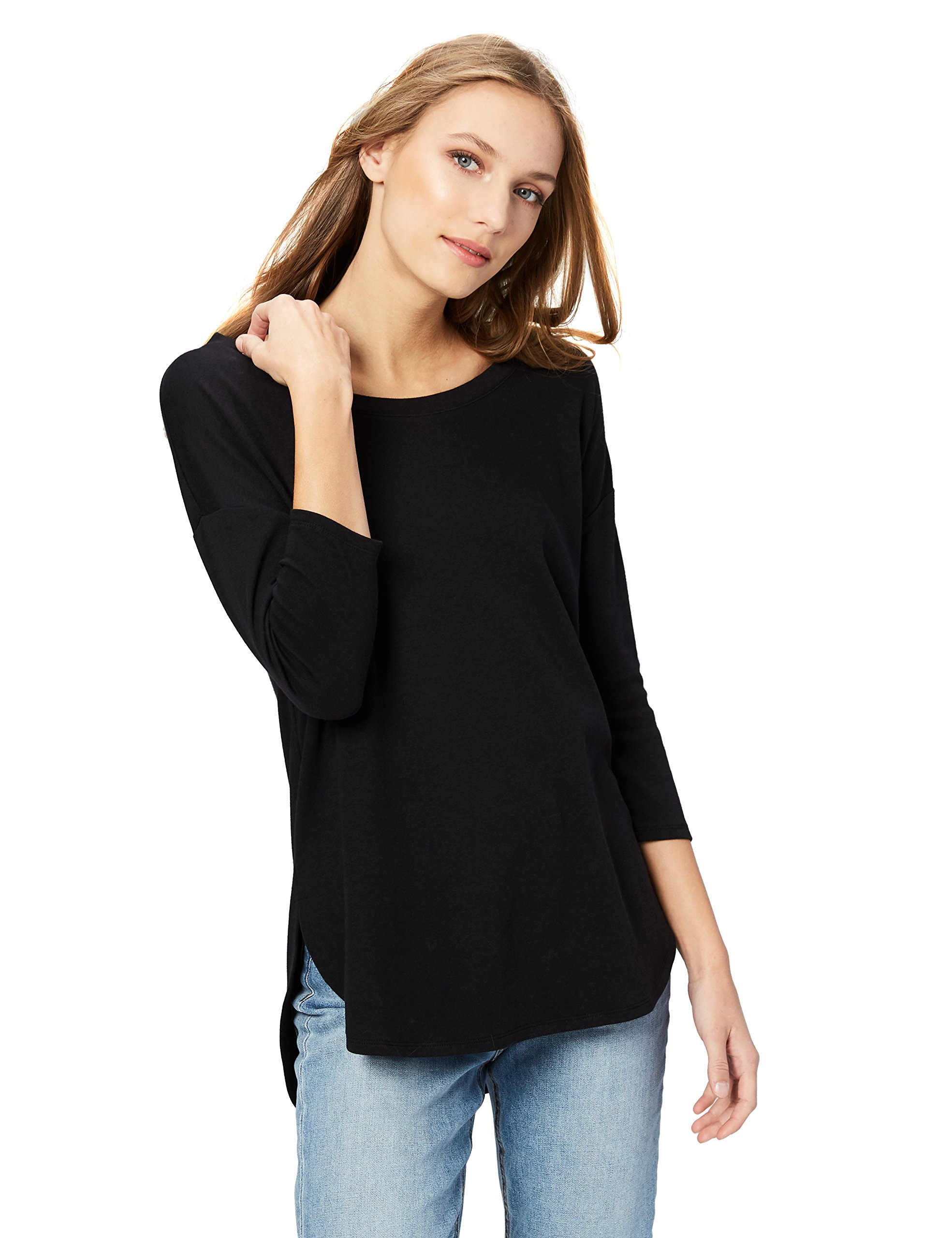 Daily Ritual Women's Pima Cotton and Modal 3/4-Sleeve Scoop Neck Tunic, S, Black