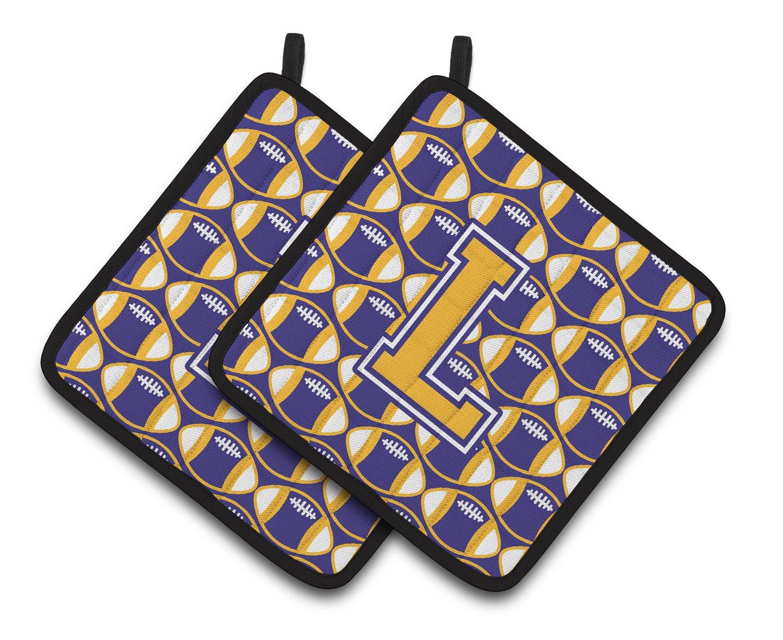 Multicolor 7.5HX7.5W Carolines Treasures Letter L Football Purple /& Gold Pair of Pot Holders CJ1064-LPTHD