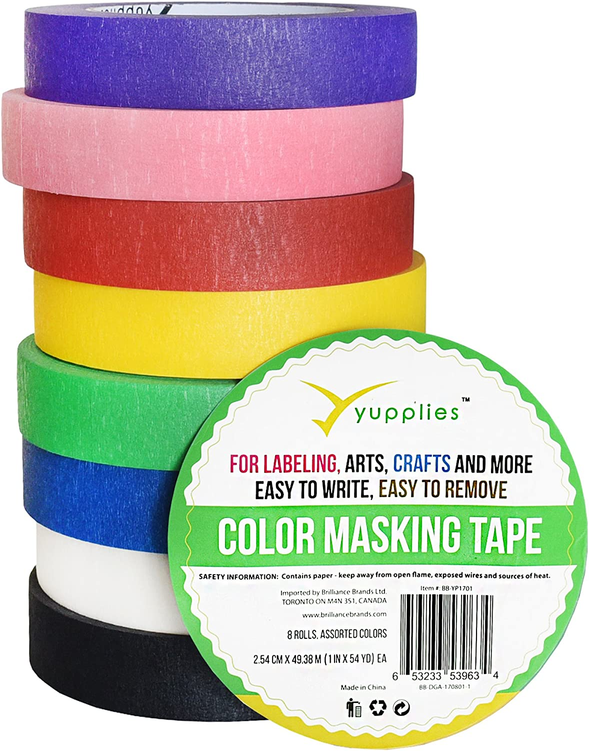 Home Decoration Office Supplies 7 Pieces Colored Masking Tape Rainbow Masking Tape Labelling Tape Graphic Art Tape Roll for Fun for Arts DIY