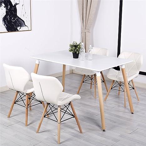 Stile bianco Millmead Simpa® Eiffel sedia da pranzo, gambe in legno ...