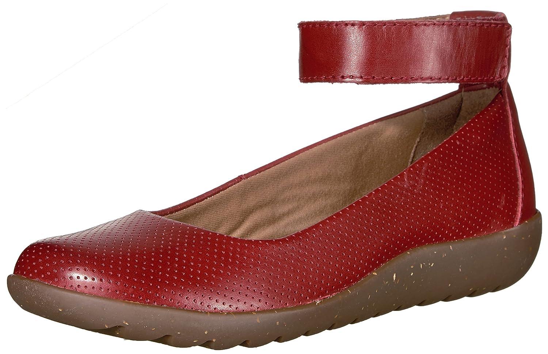 CLARKS Women's Medora Nina Flat B01IC3V62M 5 B(M) US|Red Leather