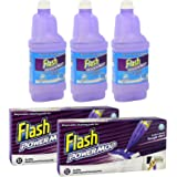 Flash Power Mop Bundle Pack of 3 x 1.25L Sea Minerals Cleaning Solution + 24 x Refill Pads