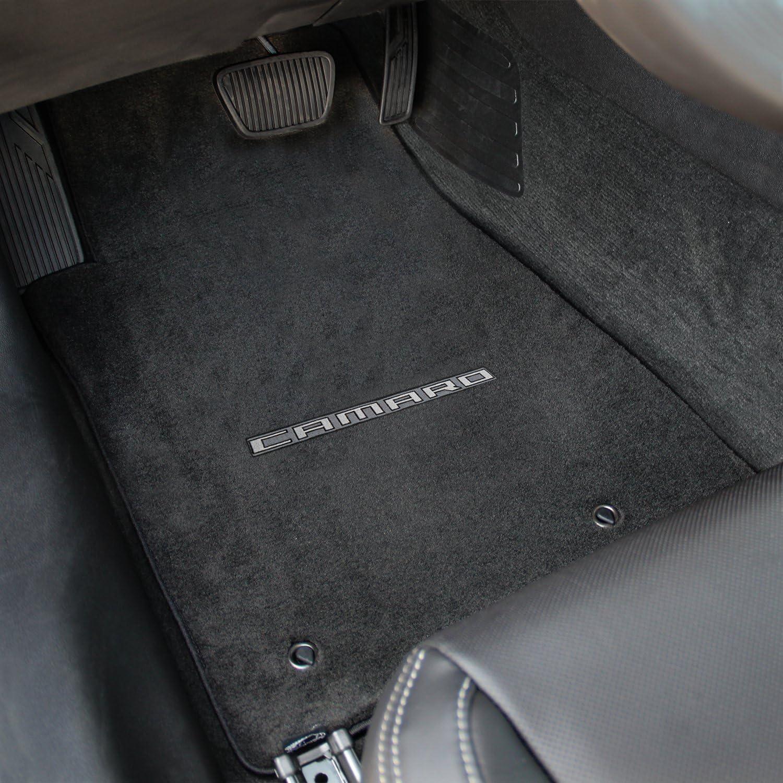 2010-2014 Chevy Camaro 2pc Ebony Black Floor Mats Set with CAMARO Logo Embroidery in Silver