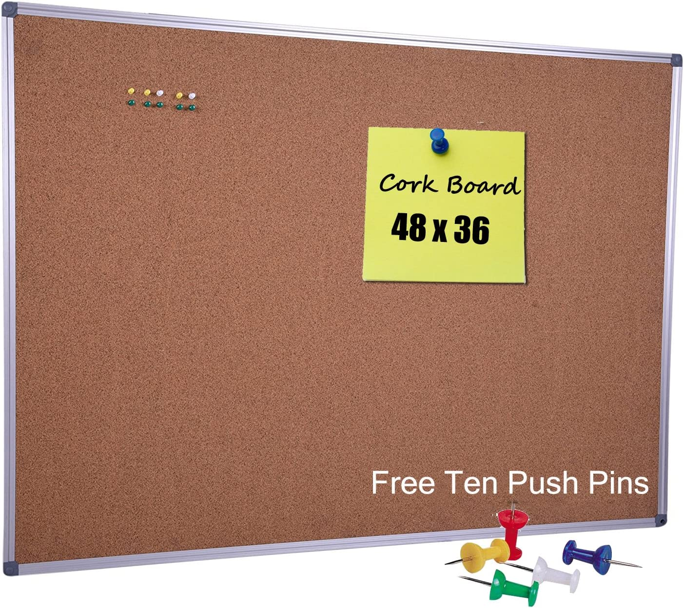 Large Cork Board 48 x 36 Inch with Satin-Finished Aluminum Frame, Notice Bulletin Board Memo Pin Board for Office and Home Usage, Ten Free Pins Included