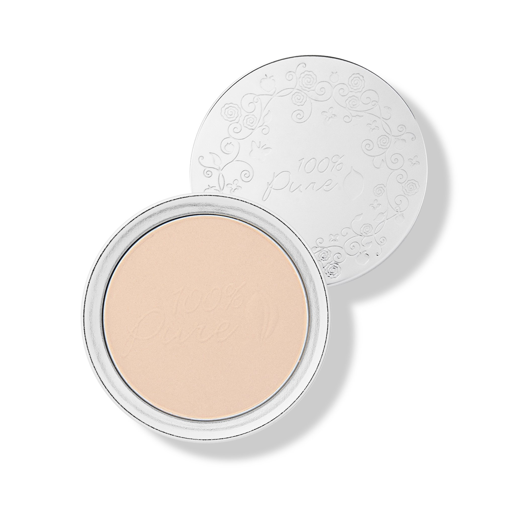 100% Pure Healthy Face Powder Foundations with Sun Protection, White Peach