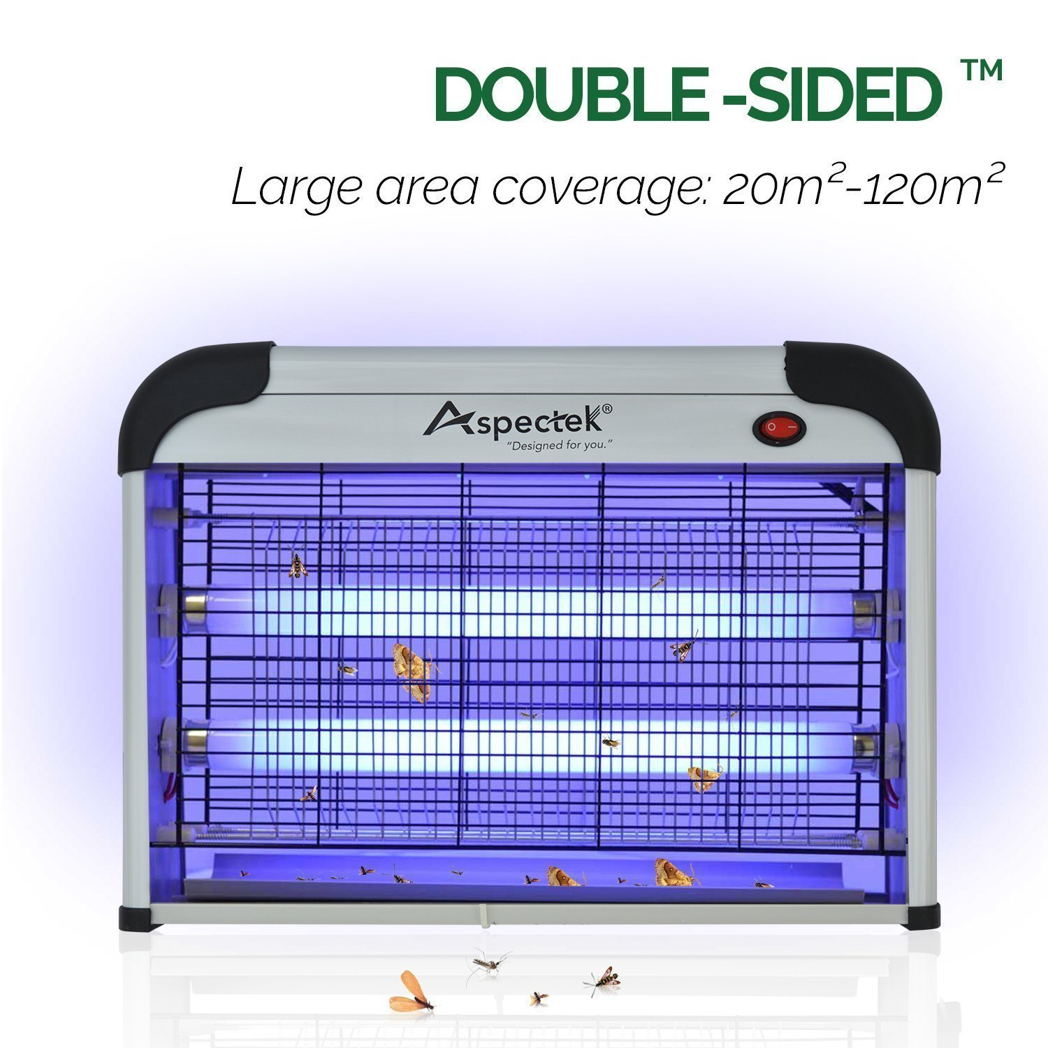 Aspectek 20W Electronic Bug Zapper, Insect Killer for RESIDENTIAL and  COMMERCIAL use - Effective against Flies, Moths, Mosquitos, Cockroaches,  Wasps,