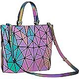 Harlermoon Geometric Holographic Luminous Reflective Purse Large Top-handle Handbags with Zipper Closure Boston Bag for Women