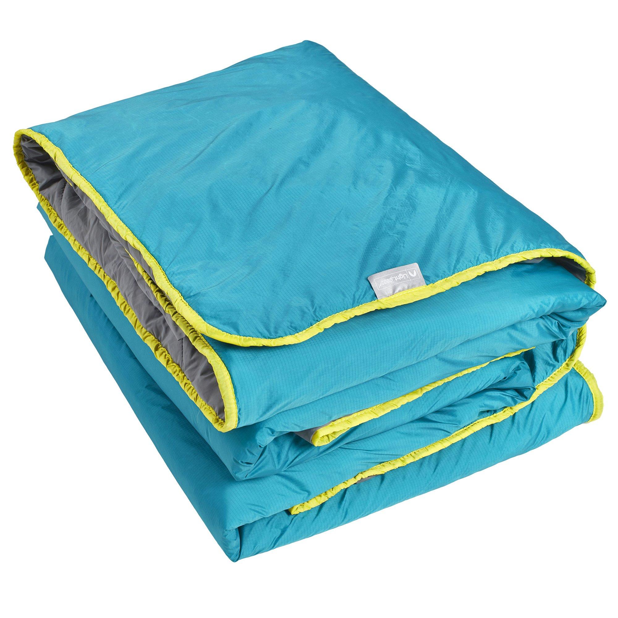 Lightspeed Outdoors Sundown Camp Blanket, Nylon Ripstop, Fluffy Down Alternative, Packable, 77'' x 55''