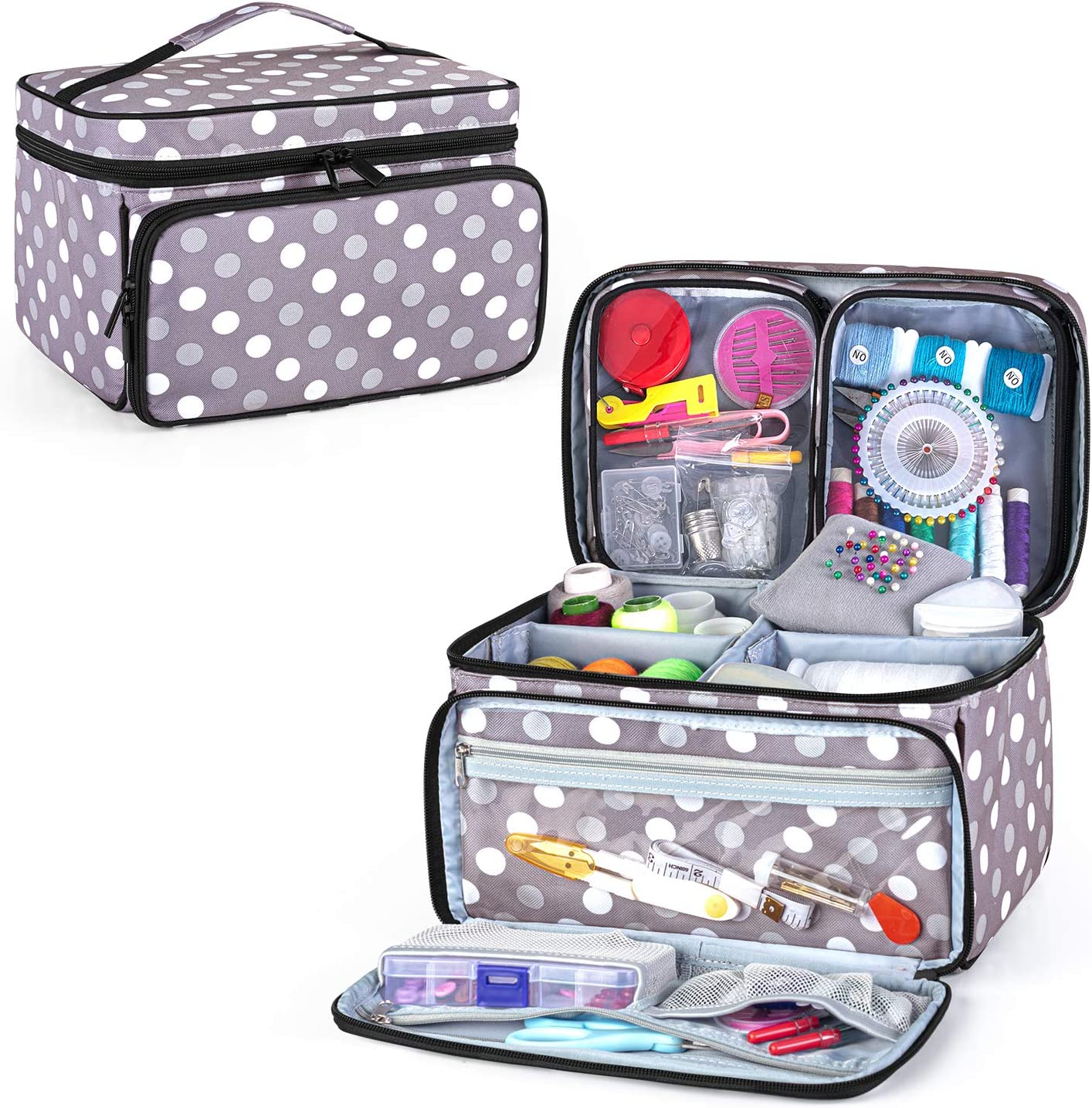 Gray Luxja Sewing Machine Carrying Bag with Sewing Accessories Organizer