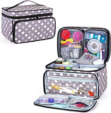 4 pockets in front and back,2 large pockets on each side. Sewing Tote,Sewing bag,Has a removable matching pin cushion
