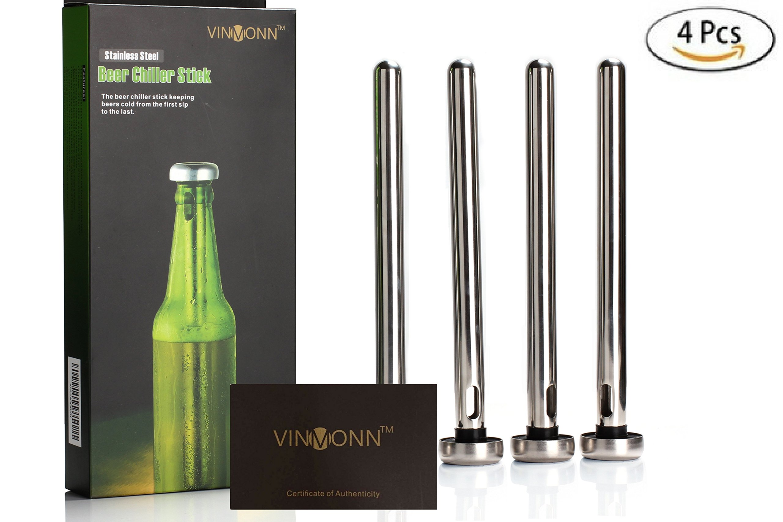 VINMONN Beer Chiller Sticks Beer Chillers for Bottles  Beer Chilling Sticks 4 Pieces Set Craft Beer Gifts :: Perfect Beer Accessories and Gifts