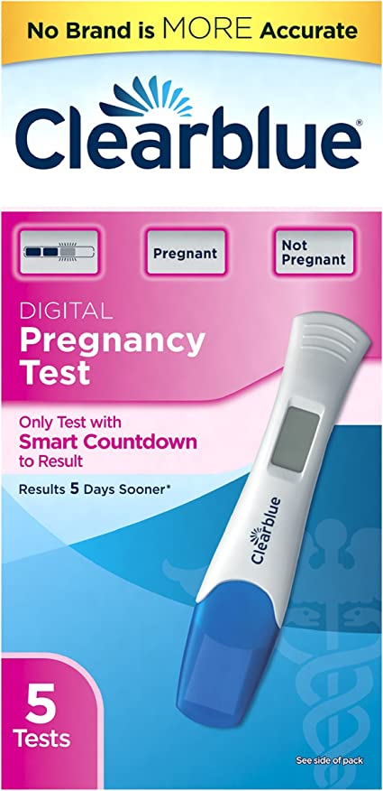 positive clear blue digital pregnancy test inside