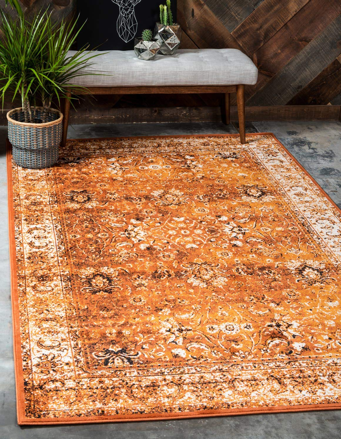 Unique Loom Imperial Collection Modern Traditional Vintage Distressed Terracotta Area Rug 4 0 x 6 0