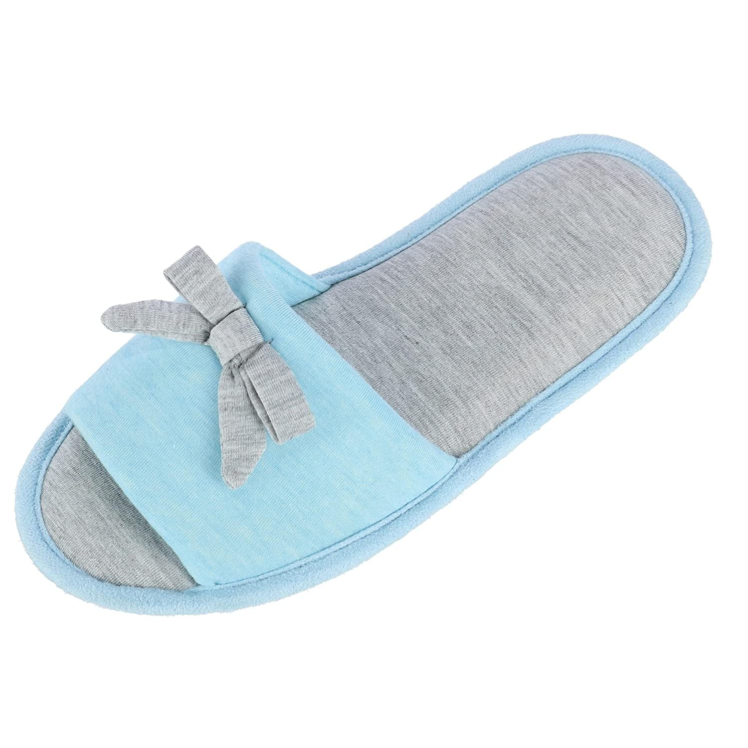 Hanes Women's Heather Jersey Open Toe Slide Slipper with Bow
