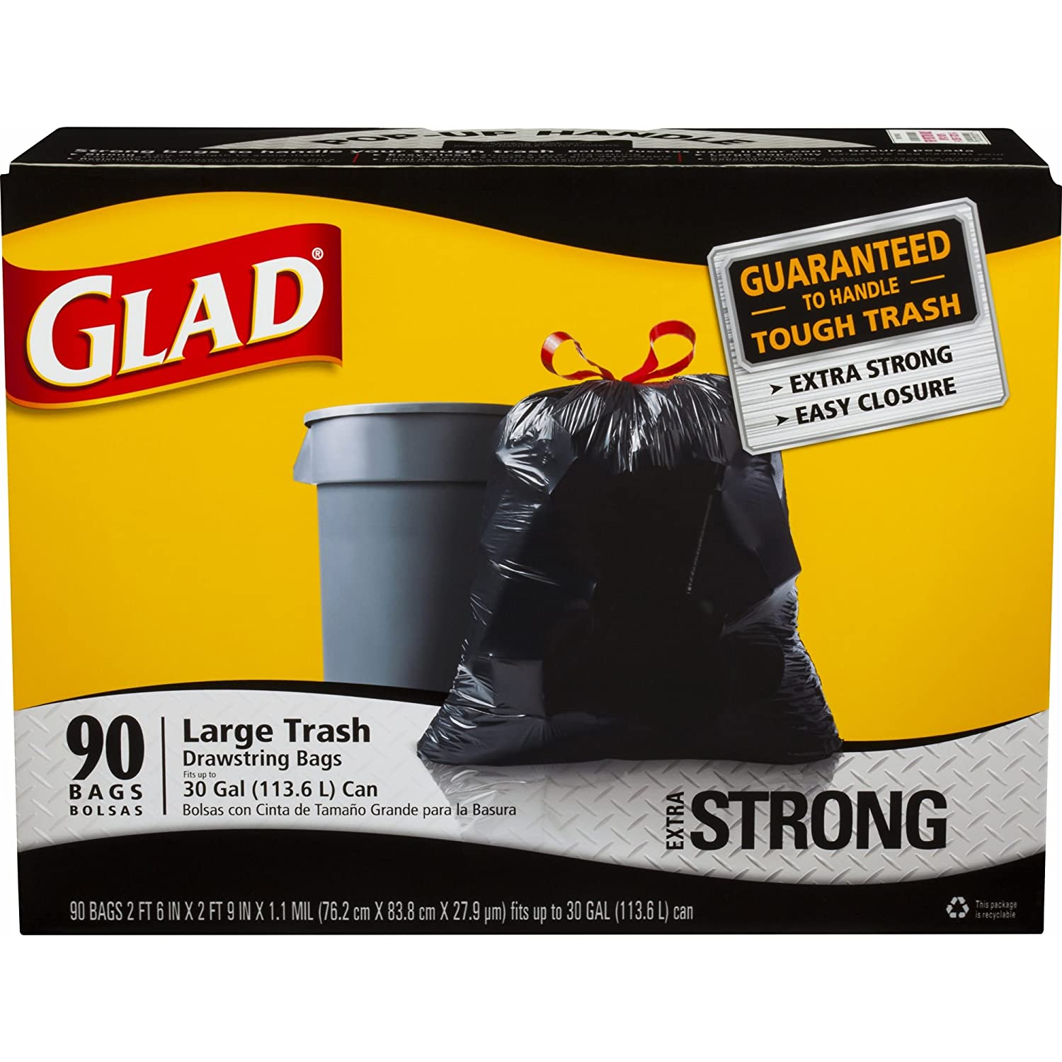 Product of Glad 30-gal. Black Drawstring Plastic Trash Bags, 90 ct. - Black - Trash Bags [Bulk Savings]