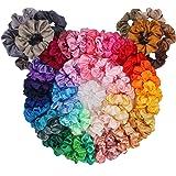 60 Pack Hair Scrunchies, BeeVines Satin Silk Scrunchies for Hair, Silky Curly Hair Accessories for Women, Hair Ties…