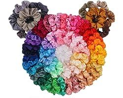 60 Pack Hair Scrunchies, BeeVines Satin Silk Scrunchies for Hair, Silky Curly Hair Accessories for Women, Hair Ties Ropes for