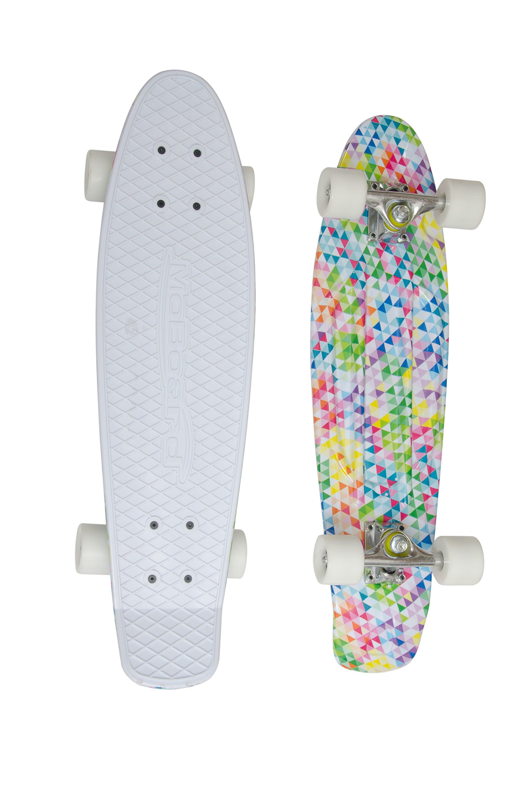 MoBoard 27'' Inch Graphic Complete Skateboard (White/Mosaic - White)