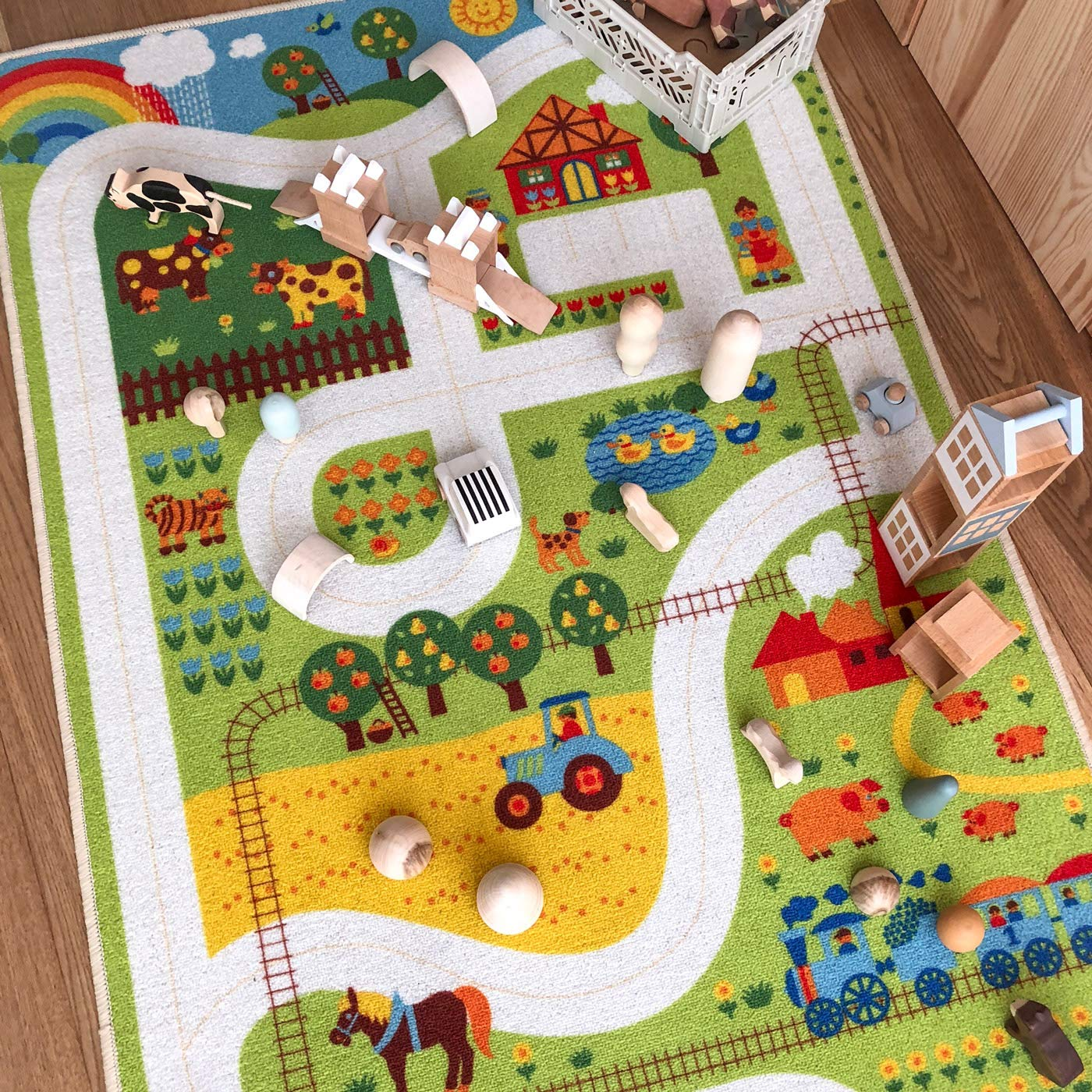 byGraziela Spielteppich Stra/ßenteppich f/ür Kinder Kinderteppich Bauernhof Teppich 90 x 130cm