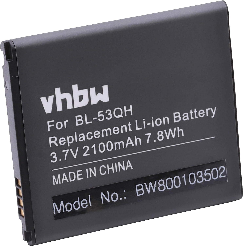 vhbw Li-Ion batería 2100mAh (3.7V) para móvil Smartphone teléfono LG Optimus 4X HD P880, F5 P875, L9 P760, Life L-02E, LTE II, LTE II F160I: Amazon.es: Electrónica