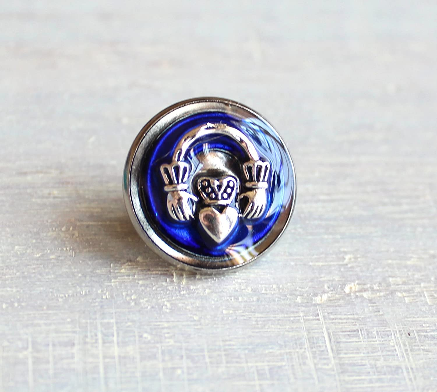 Royal blue Claddagh tie tack / lapel pin.