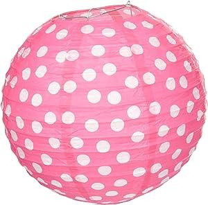 Amscan 248153 Dots Printed Paper Lanterns-Bright Pink, 1 piece