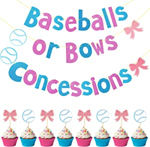 26 Pieces Baseballs or Bows Banner and Cupcake Toppers Concessions Banner Baseball Cake Toppers Bow Dessert Toppers Gender Reveal Themed Party Supplies for Baby Shower Party Decoration