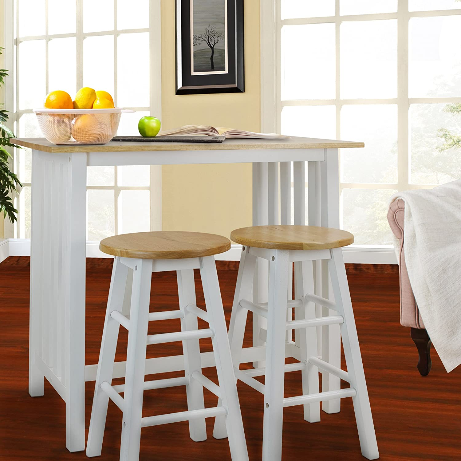 Amazon.com: Casual Home 3 Piece Breakfast Set With Solid American Hardwood  Top, White: Kitchen U0026 Dining