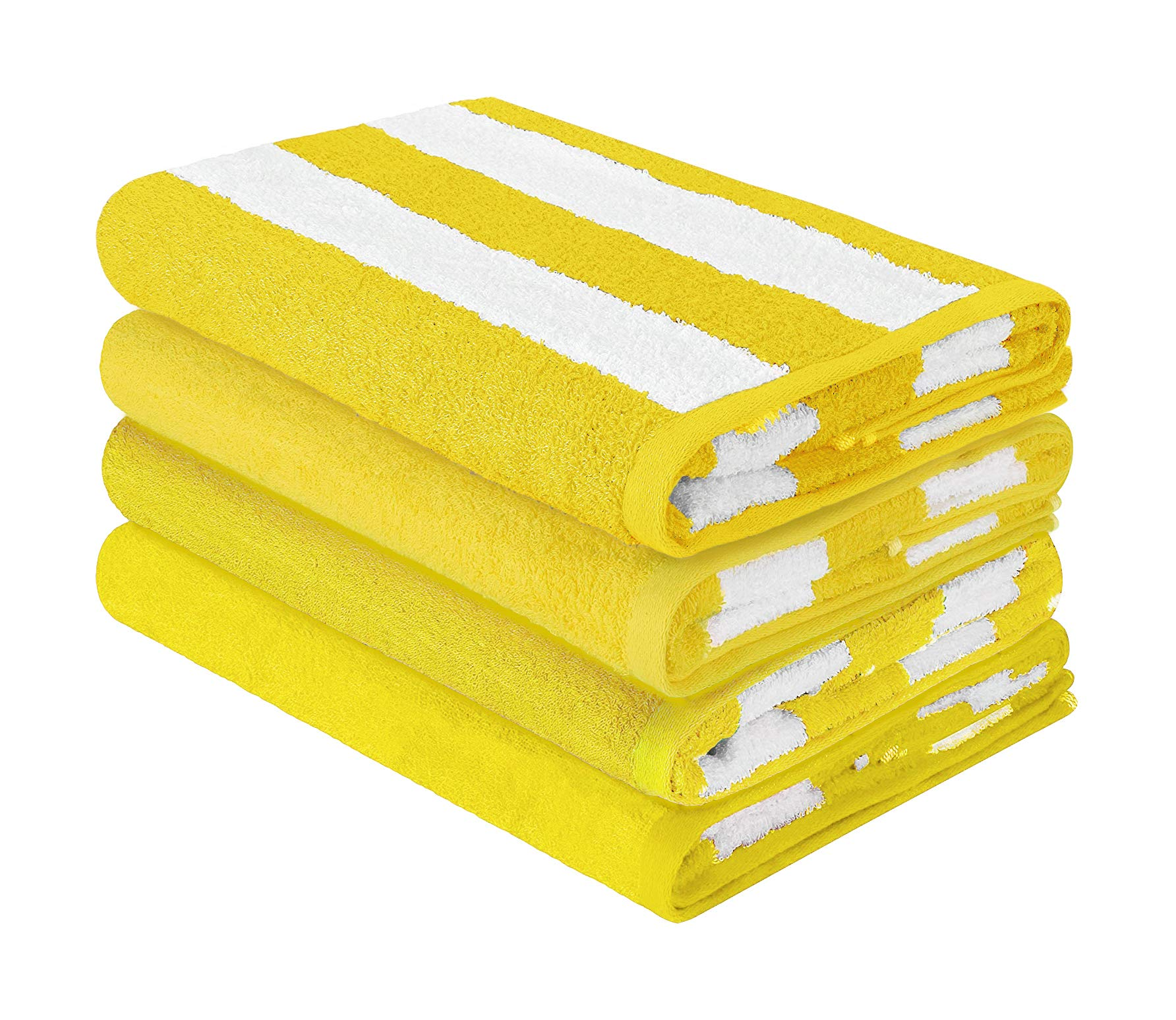 HomeLabels Luxury Premium Quality Cabana Beach Towels - Pack of 4 Cabana Stripe Pool Towels (30 x 60 Inches) Multi Purpose Towels with High Absorbency, Yellow by HomeLabels