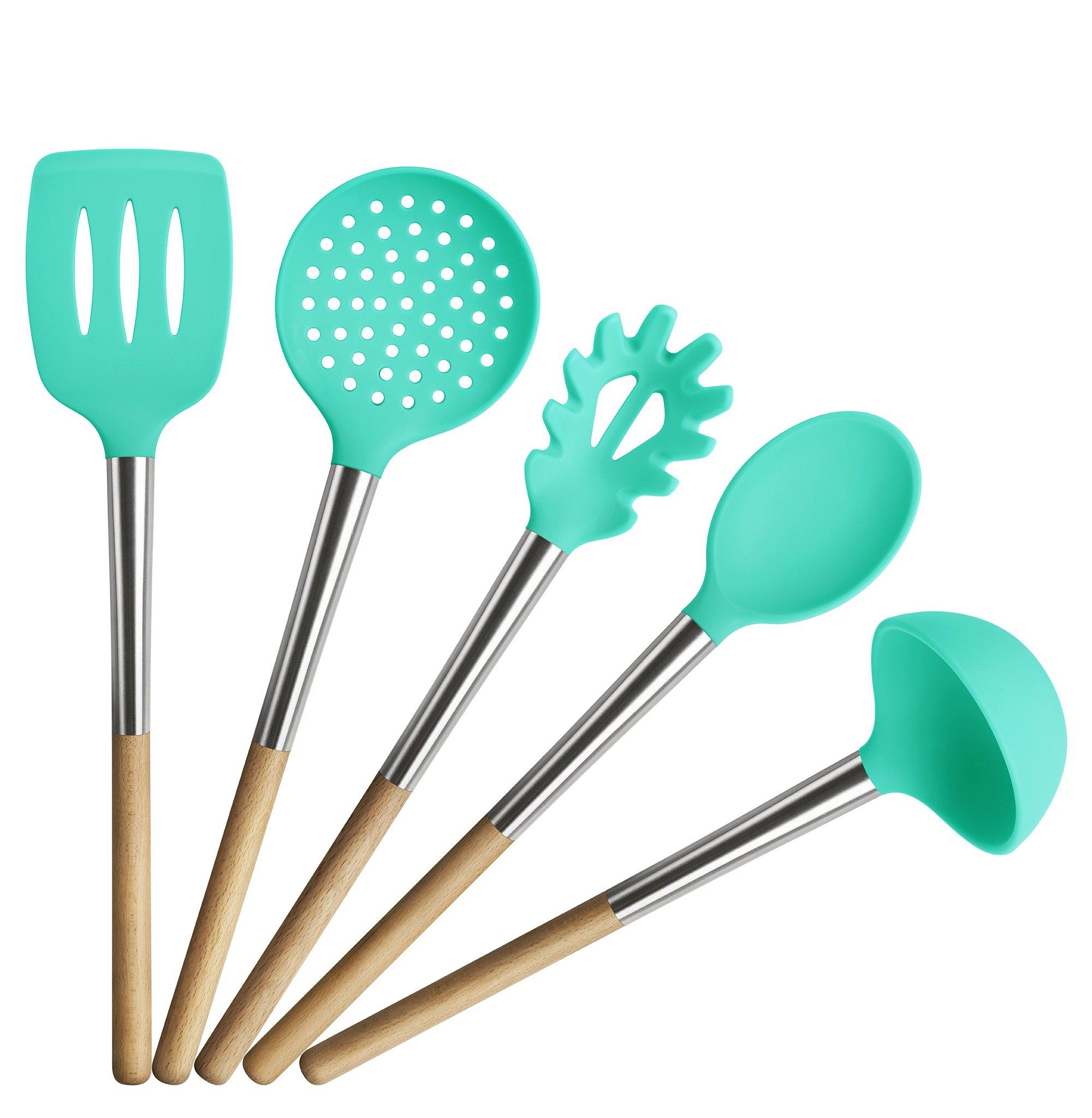 TOPHOME Kitchen Utensils Cooking Utensils Nonstick Utensil Set Beech ...