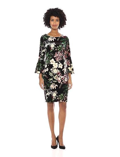 241937d83dfb1 Calvin Klein Women s Bell Sleeve Velvet Sheath Cd7v133e at Amazon ...