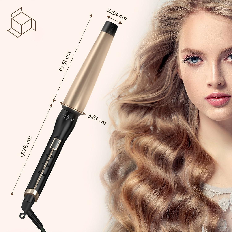Anjou - Rizador en forma de cono para rizar y peinar el cabello, estructura alargada de 25-38 mm con revestimiento cerámico de turmalina, de 93 ºC a 210 ºC, ...