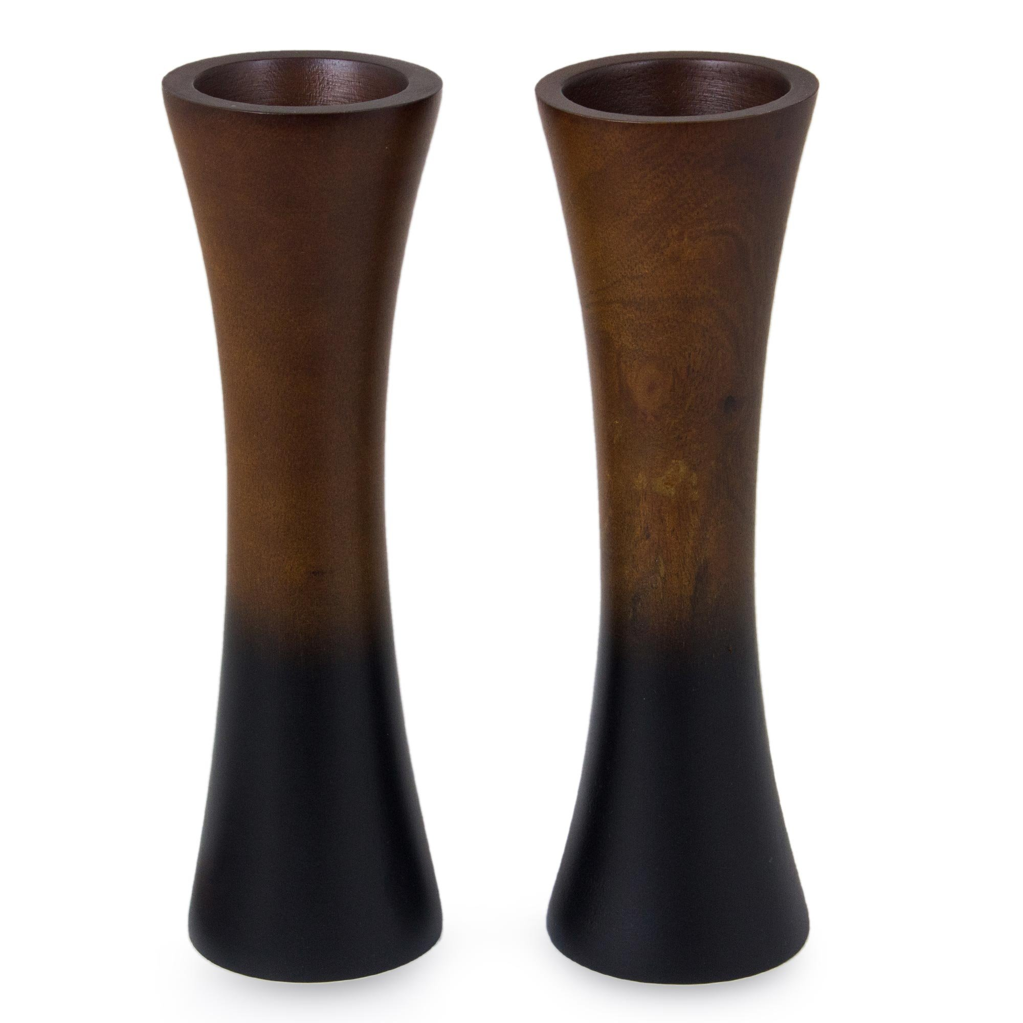 NOVICA ''Thai Trumpets 2 Piece Mango Wood Vases by NOVICA