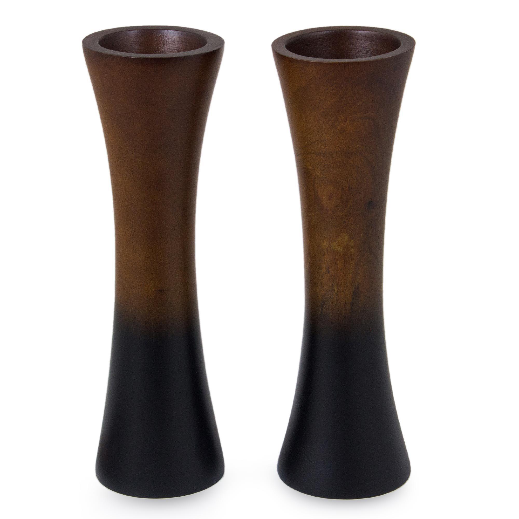 NOVICA ''Thai Trumpets 2 Piece Mango Wood Vases by NOVICA