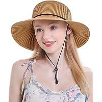 Womens Straw Hat Wide Brim Floppy Beach Cap Adjustable Sun Hat for Women UPF 50+