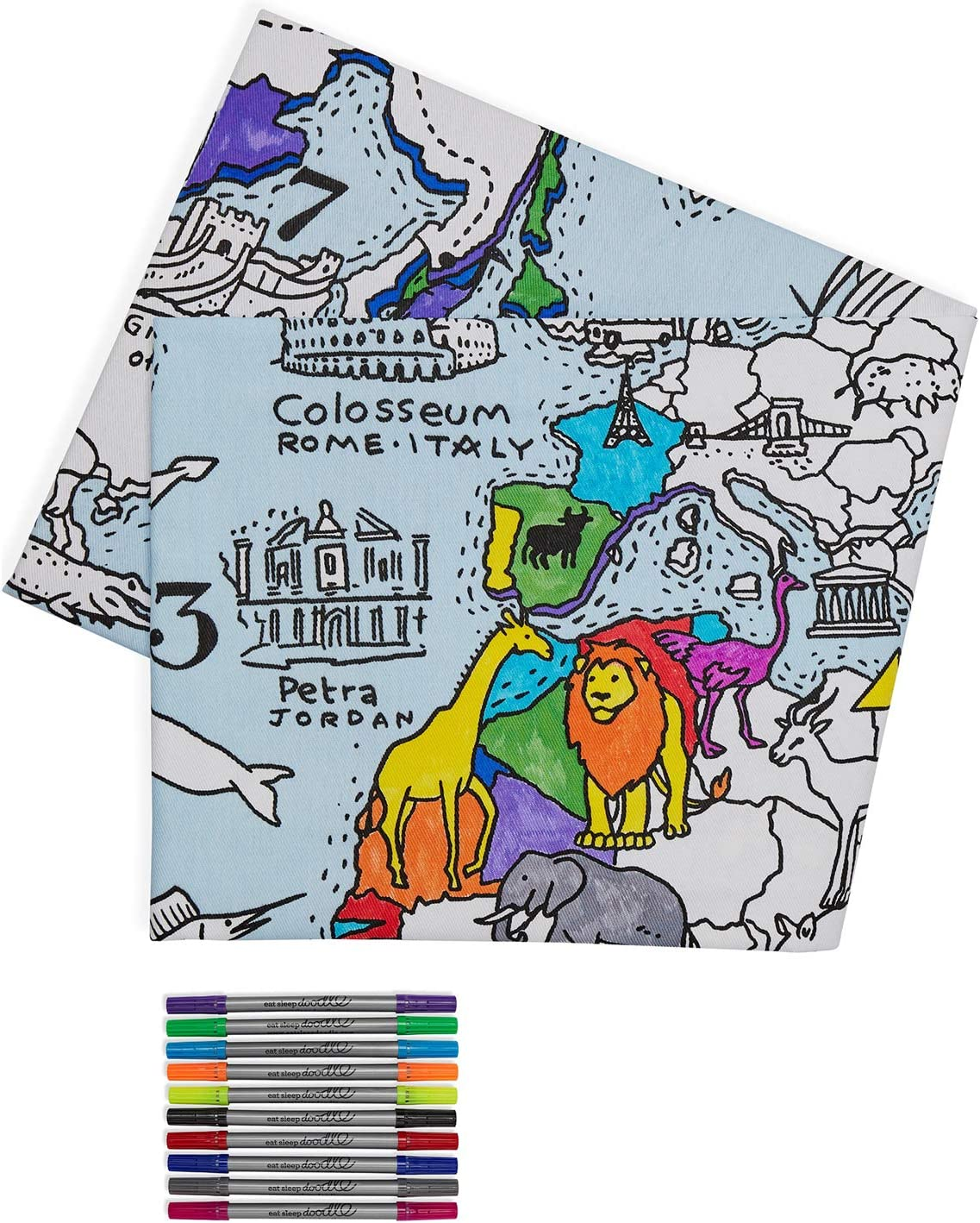 eatsleepdoodle World Map Kid's Coloring Tablecloth - Color Your Own Map of The World - Educational Geography Learning Activity for Children with Washable Felt Tip Fabric Markers