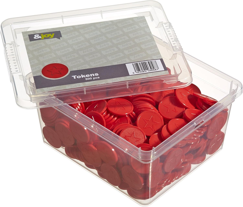 En-Joy Fichas Plasticas Grabadas - Estrella Roja - 500 Monedas - 29 mm