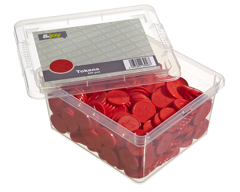 En-Joy Gettoni Serigrafati Plastica - Stella Rossa - 500 Monete - 29 mm Token