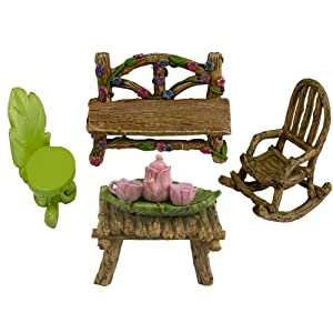 Twig & Flower The Super Cute Miniature (Eight Piece) Fairy Garden Furniture & Tiny Tea Set